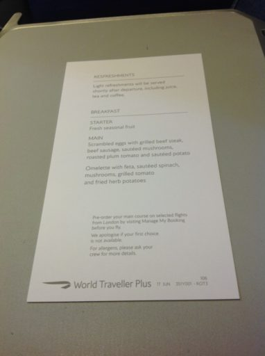 British Airways, Boeing 747, World Traveller Plus, Dubai, Londen-Heatrow, Oneworld, Menu, Menukaart