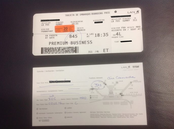 Boarding pass, Lounge, Frankfurt, Oneworld, Business Class, LATAM