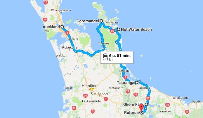 Nieuw-Zeeland, road trip, huurauto, bestemmingstips, Auckland, Rotorua, Coromandel