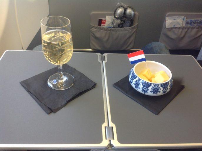 Champagne, kaas, business class