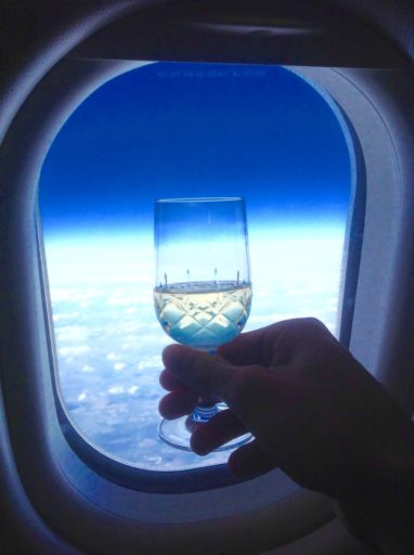 champagne, klm, proost, vliegtuig, business class