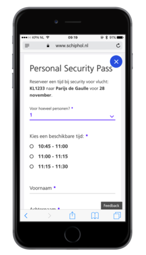 Schiphol personal security pass