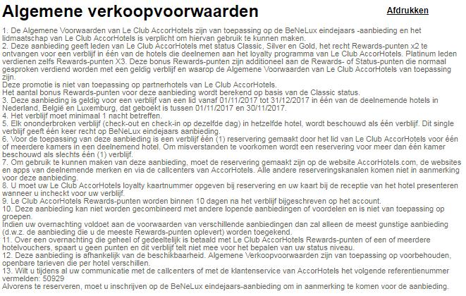 Accor, Promotie, Benelux, Voorwaarden