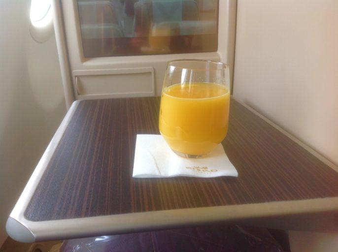 Etihad, a340, jus d'orange, cairo, business class