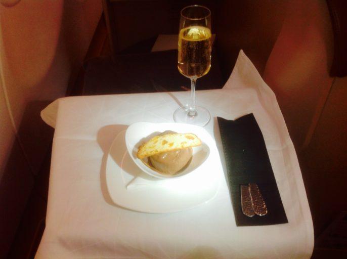 champagne, dessert, Etihad, a340, business class