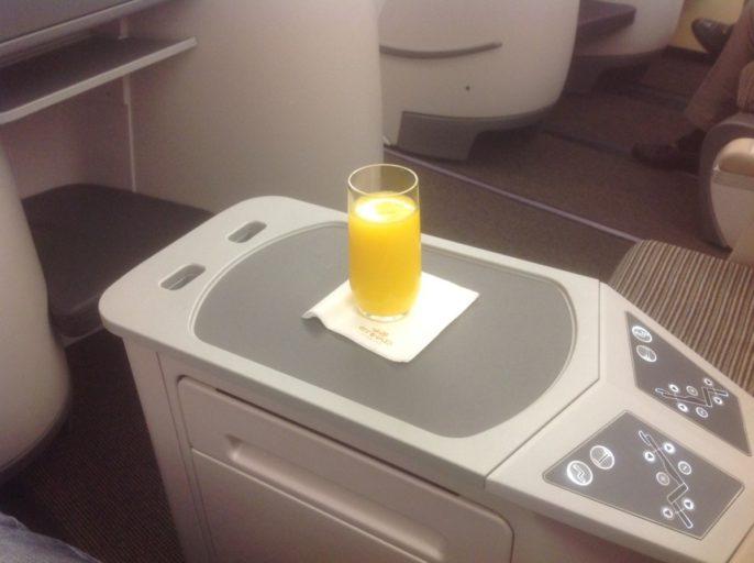Etihad, business class, pre departure drink