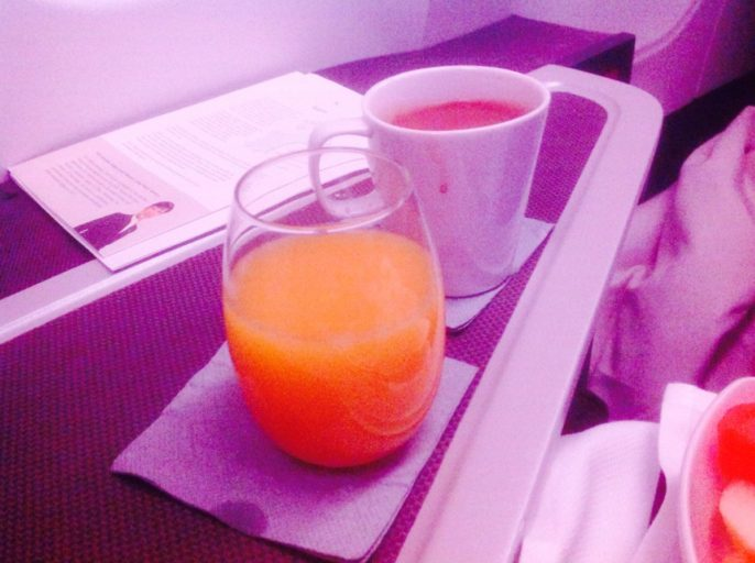 cathay pacific, koffie, jus d'orange