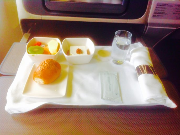 cathay pacific, voorgerecht, business class