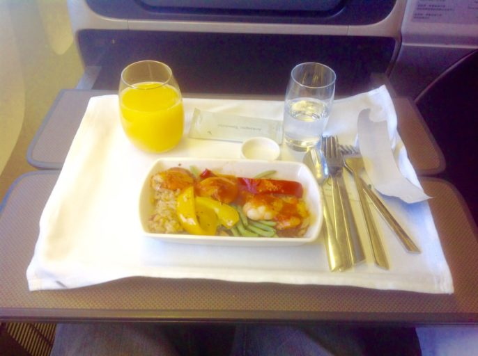 business class, cathay pacific, hoofdgerecht