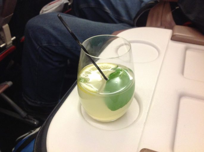 Turkish airlines, business class. lemonade