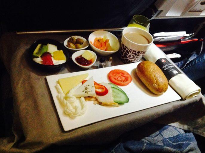Turkish airlines, business class, voorgerecht, a320