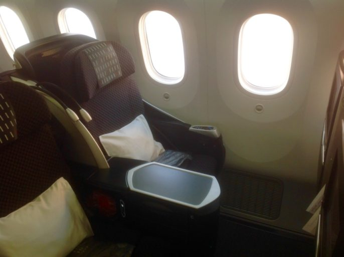 twin seats, business class, Japan airlines, dreamliner