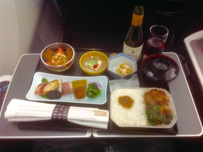 business class, maaltijd, Japan airlines, Seoul, Tokyo