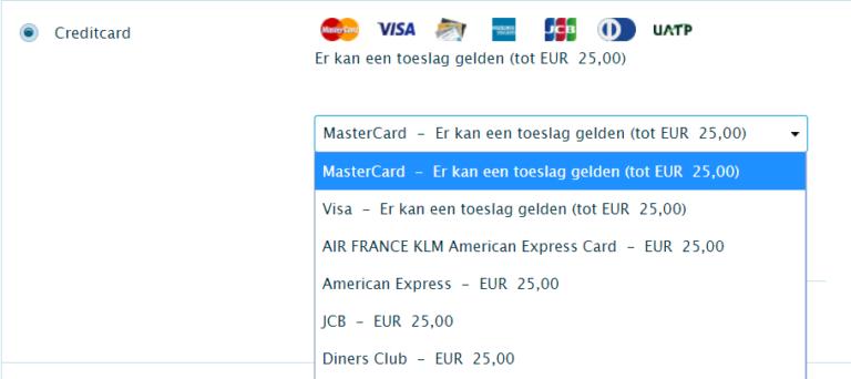 KLM creditcardtoeslag