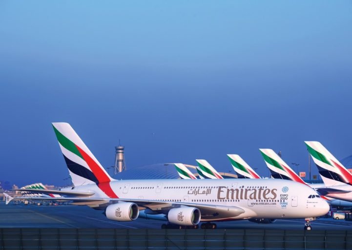De A380 van Emirates op het vliegveld van Dubai (DXB) (Bron: Emirates)