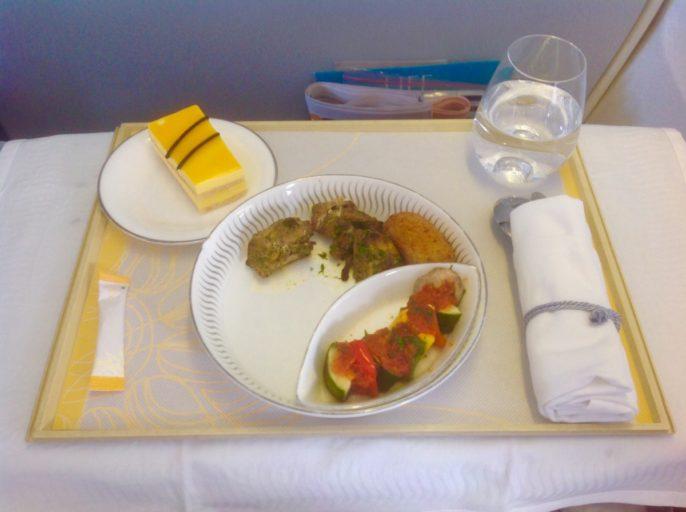 jet airways, business class, maaltijd
