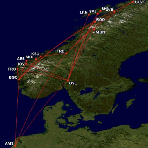Codeshare routes KLM op Wideroe netwerk