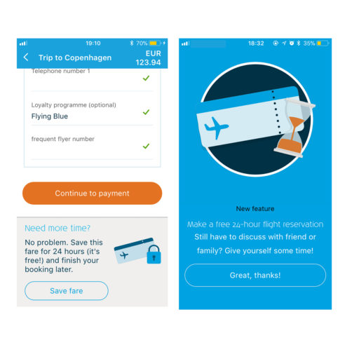 Screenshots KLM App iOS