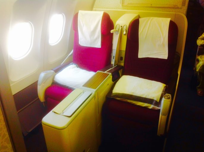 business class, twin seats, qatar airways