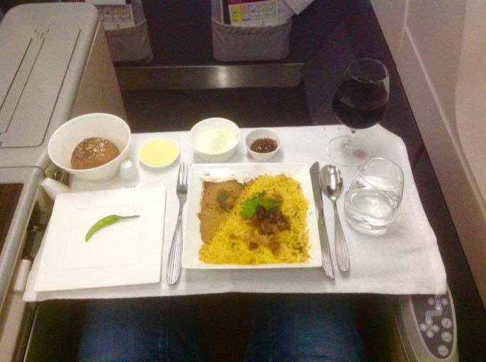 rijstmaaltijd, qatar airways, a330, business class