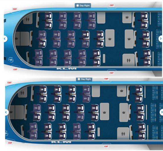 KLM World Business Class seatmap