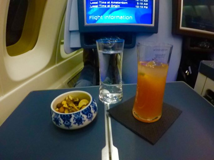 cocktail, klm, business class, boeing 747