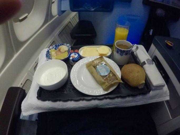 ontbijt, Boeing 747, klm, business class