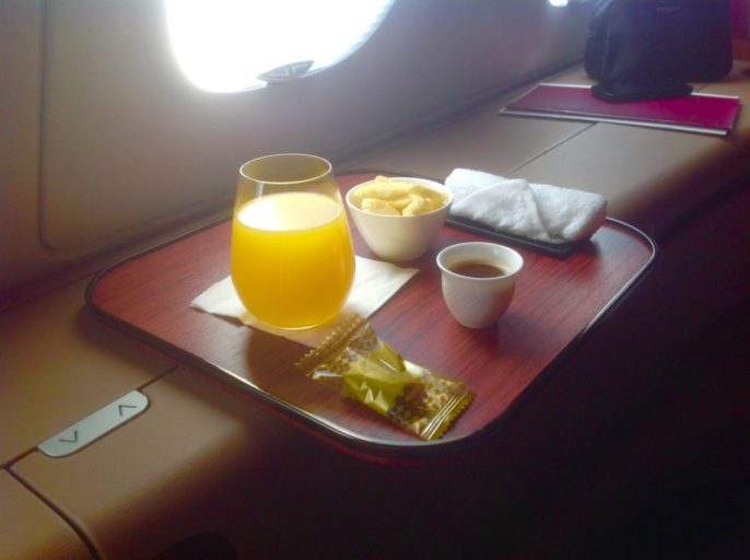 qatar airways, a380, opstijgen, jus d'orange