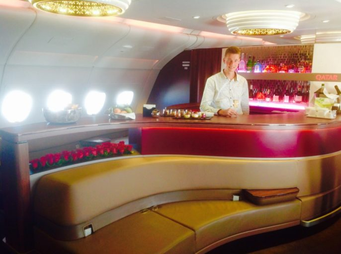 qatar airways, bar, a380
