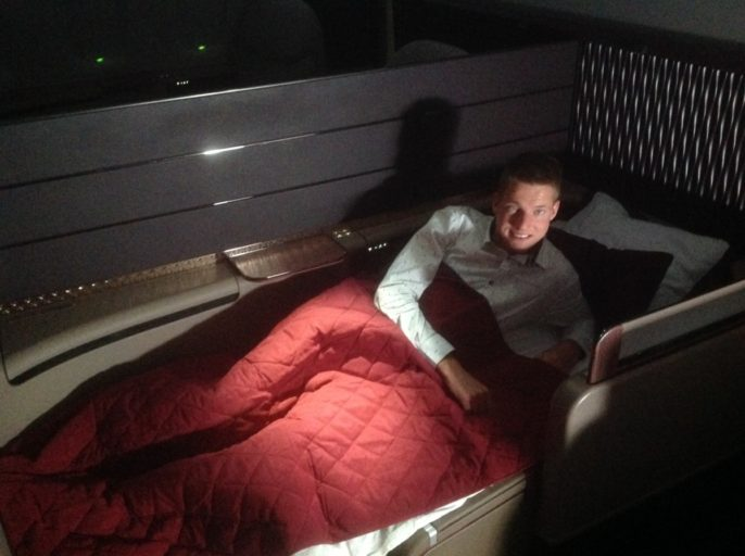 qatar airways, a380, bed, first class