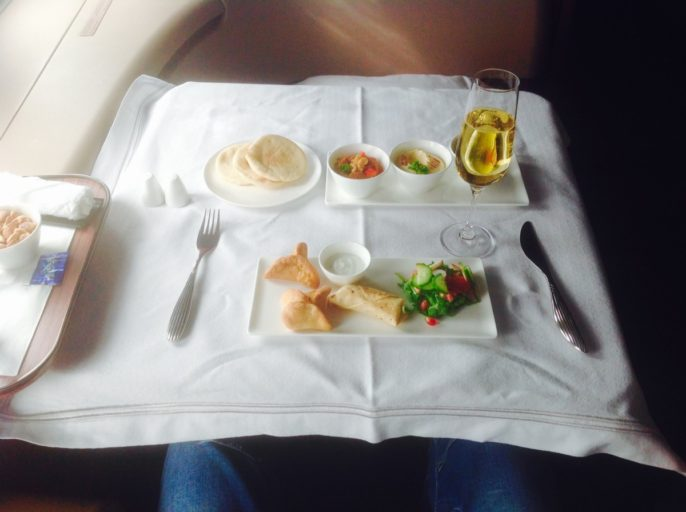 qatar airways, first class, lunch, a380