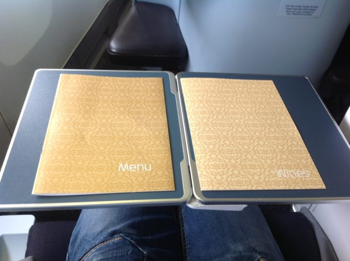 menukaarten, klm, business class