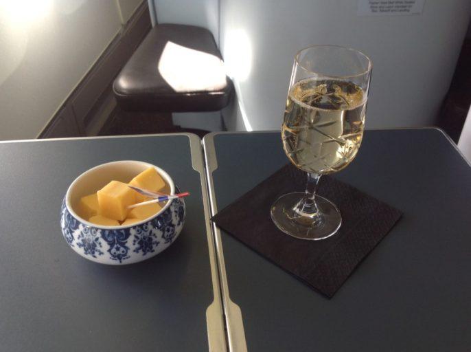 champagne, kaas, klm, business class