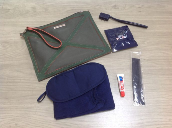 amenity kit, klm, business class