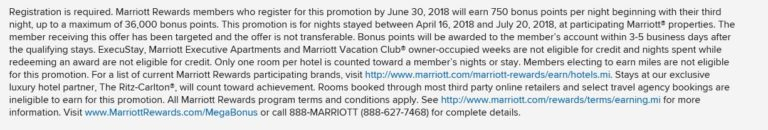 Marriott Megabonus Q2 2018
