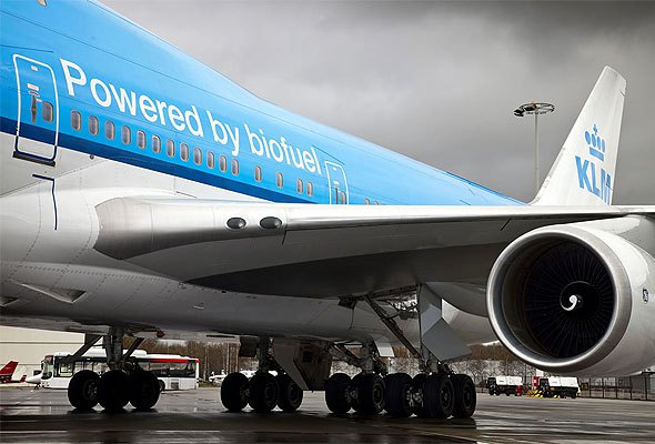 Sommige toestellen van KLM vliegen op een mengsel van normale brandstof en biodiesel (Bron: KLM)