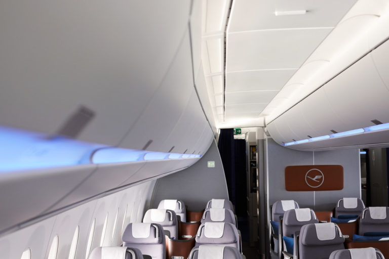 Lufthansa's nieuwe verlichtingsconcept aan boord van de A350-900 (Bron: Lufthansa)