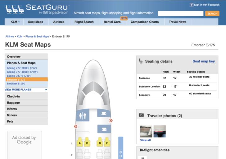 SeatGuru: reizigers geven tips over de ideale stoel in het vliegtuig (Bron: SeatGuru)