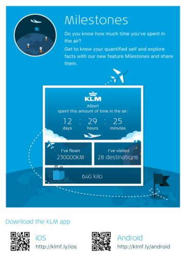 De nieuwe feature KLM Milestones in de KLM app