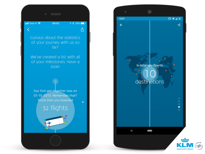De nieuwe feature KLM Milestones in de iOS en Android KLM app