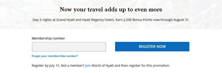 Hyatt More Points Promo 2018 - registratiepagina