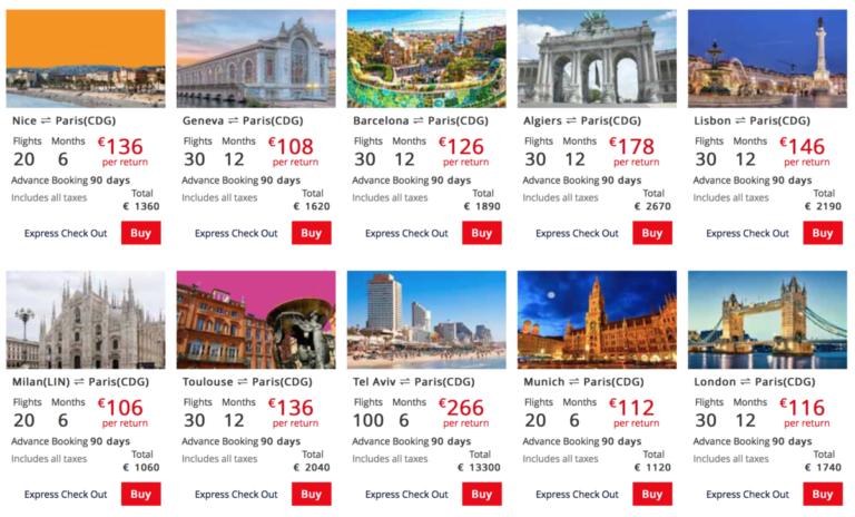 Een aantal bestemmingen (Bron: Air France)