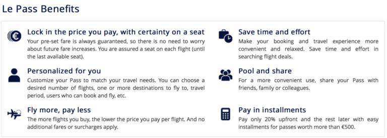 Voordelen van Le Pass (Bron: Air France)