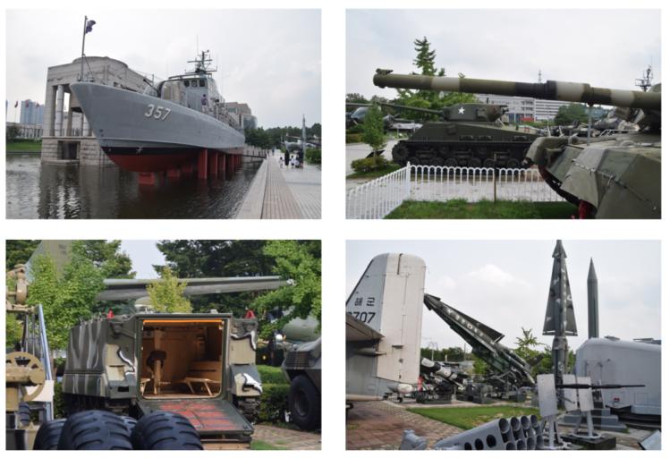 Oude militair voertuigen uit de Korea oorlog, naast het Historisch museum, Seoul
