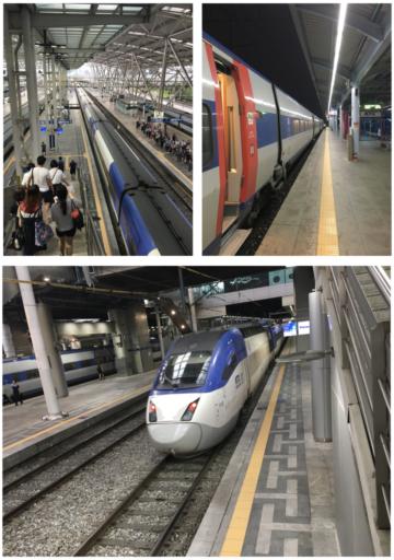 De moderne en snelle KTX-trein in Zuid-Korea