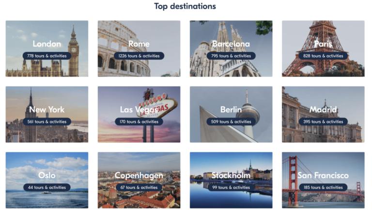 De twaalf populairste steden van GetYourGuide