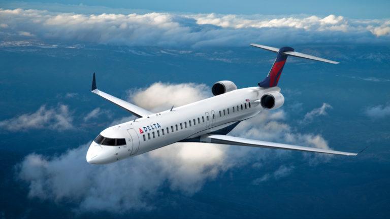 Bombardier toestel met Delta livery