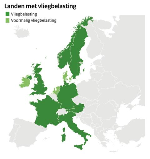 Landen met een vliegtaks (Bron: Rijksoverheid)