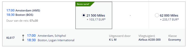 KLM naar Boston FB