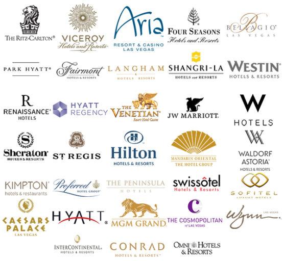 Een selectie van hotelmerken die zijn te boeken via Club1Hotels (Bron: Club1Hotels)